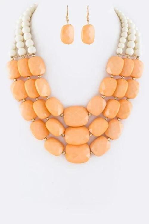 Mixed Layered Beads Necklace Set Peach/Ivory