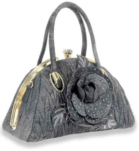 Raised Flower Denim Handbag Black