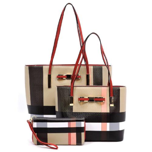 Plaid/Check 3-in-1 Bow Tote Red