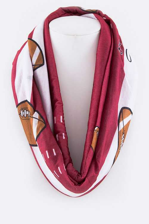 Football Print Infinity Scarf Red/White