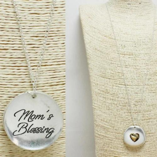 Mom's Blessing Pendant Necklace Two Tone
