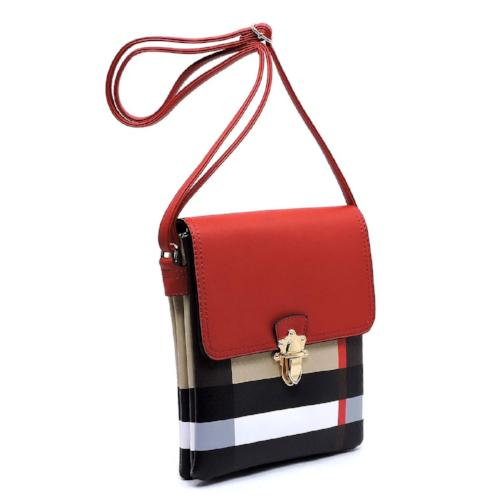 Plaid Check Print Flap Crossbody Bag Red