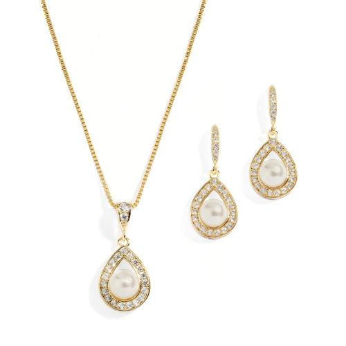 14K Gold Necklace & Earrings Set with CZ Framed Pearl