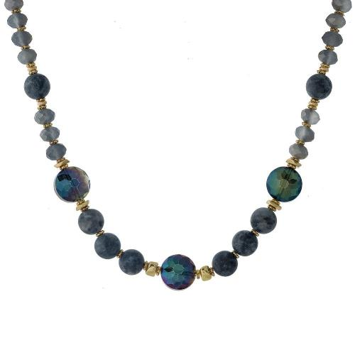 Black, Iridescent and Gray Stone Necklace