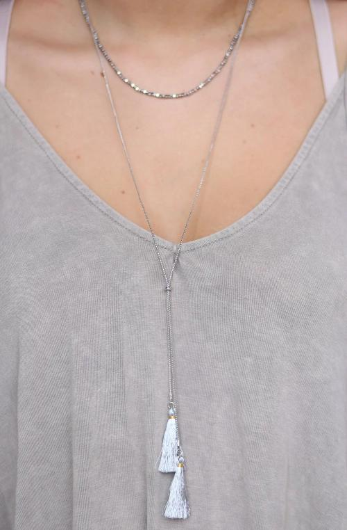 Double Layer Bead And Fabric Tassel Pull Tie Necklace