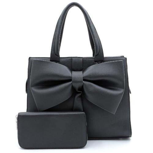 Fashionable Bow Accent 2-in-1 Satchel Black