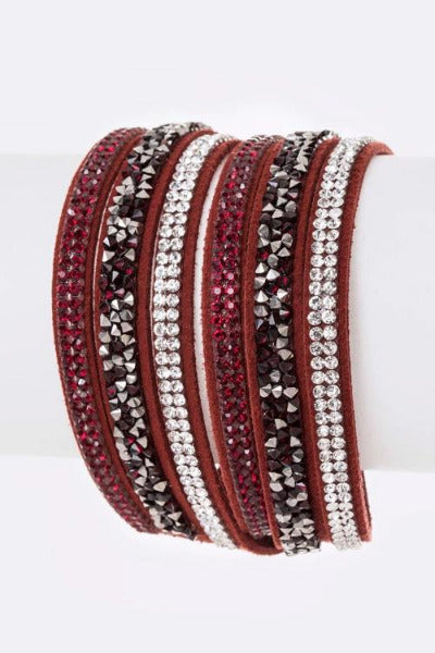 Crystal Layer Wrapped Cuff Burgundy