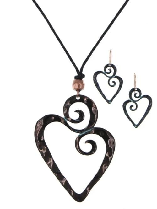 Swirling Heart Pendant Necklace Set Patina