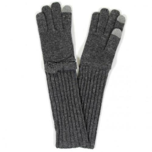 Long Smart Gloves with Bow Charcoal