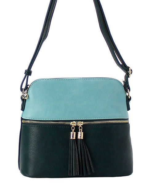Messenger Bag with Fringe Tassel Turquoise/Teal