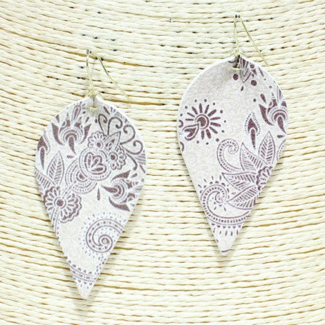 Floral Paisley Faux Leather Earring Natural