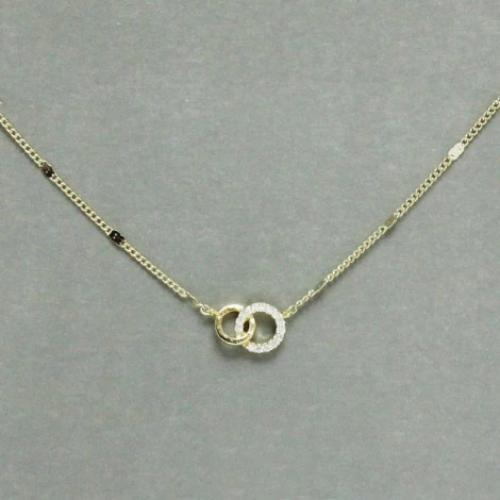 Dainty CZ Double Ring Necklace Gold