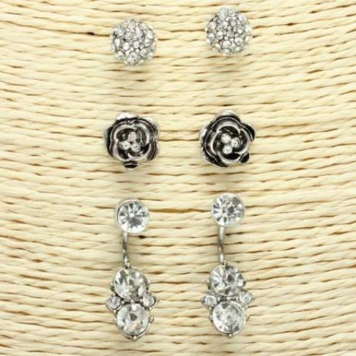 Antique Silver Stud Earring Set Antique Silver