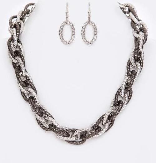 Linked Collar Necklace Set Hematite/Silver
