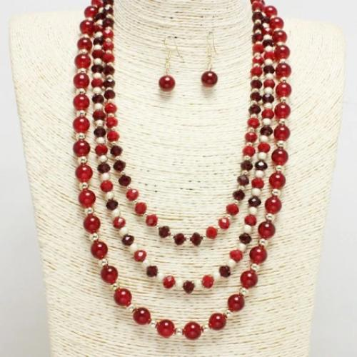 Multi Layered Beaded Necklace Burgundy/Gold