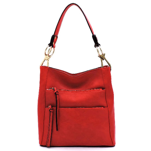 Multi Zip Pocket Shoulder/Hobo Bag Red