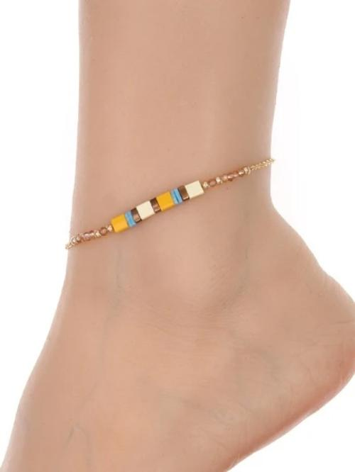 Flat Bead Anklet Natural