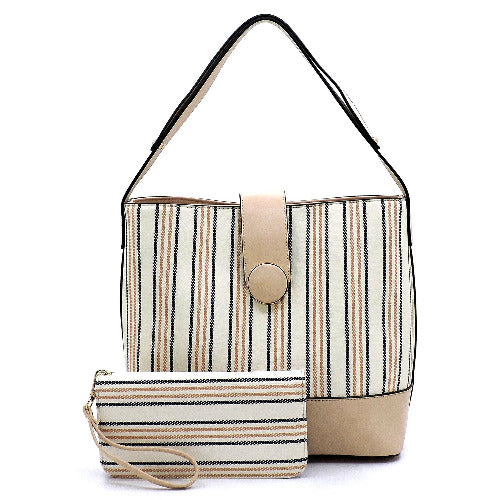 Striped Multi-Compartment 2-in-1 Shoulder Bag Nude