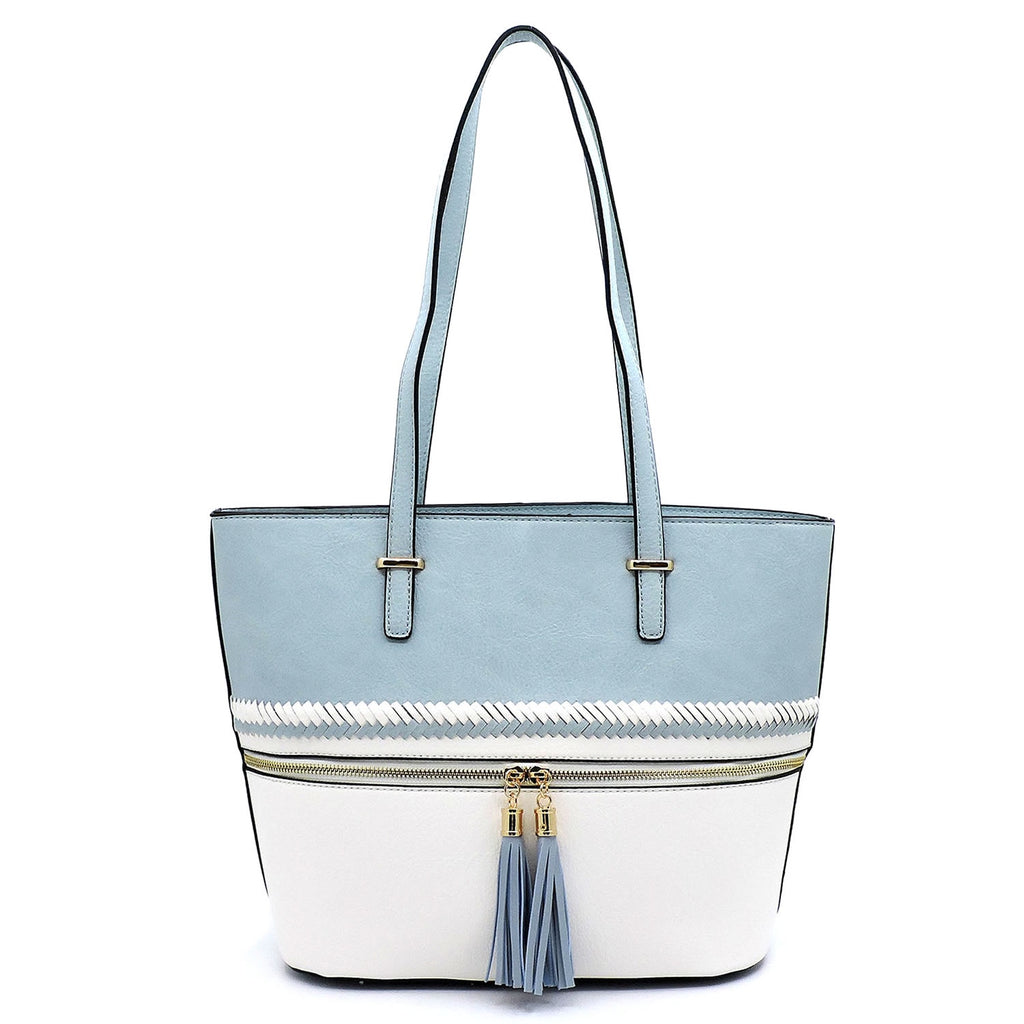 Colorblock Whipstitch Tassel Zipper Shopper Light Blue