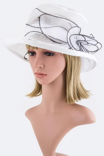 Floral Bow Organza Hat White with Black Trim