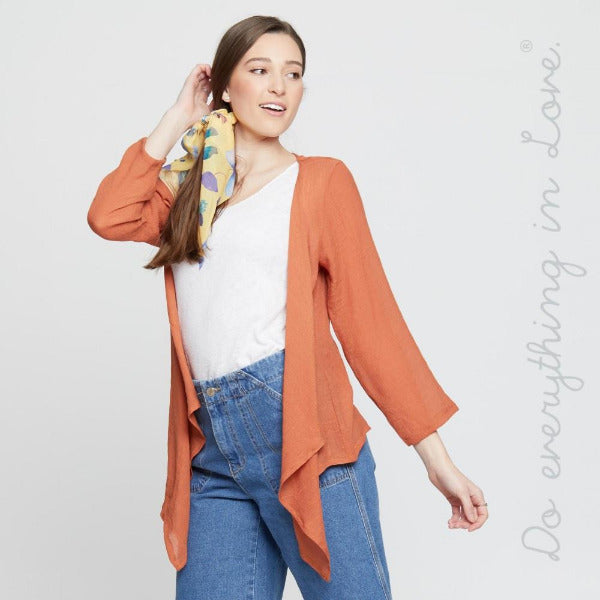 Lightweight Sheer  Kimono with Shark Bite Hem Rust