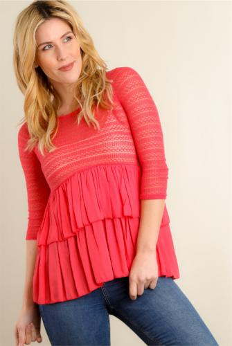 Crochet Tiered Blouse Coral