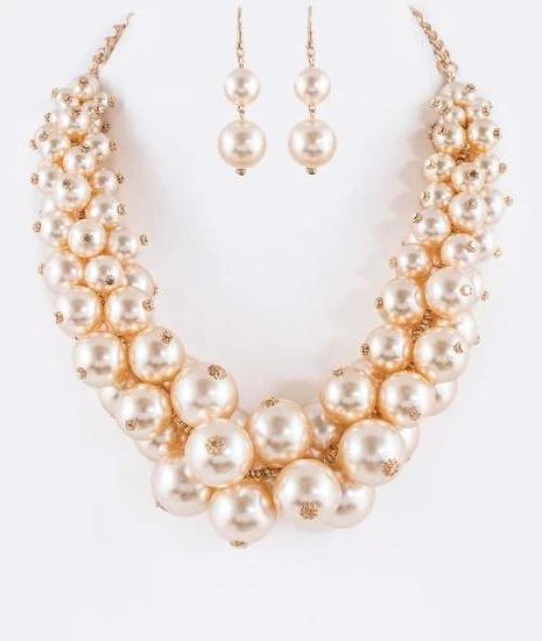 Mix Pearls Statement Necklace Set Champagne