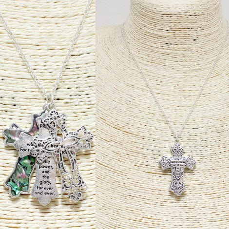 Triple Cross Lord's Prayer Pendant