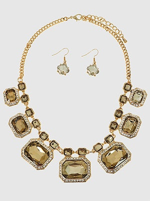 Square Crystal Ornate Statement Necklace