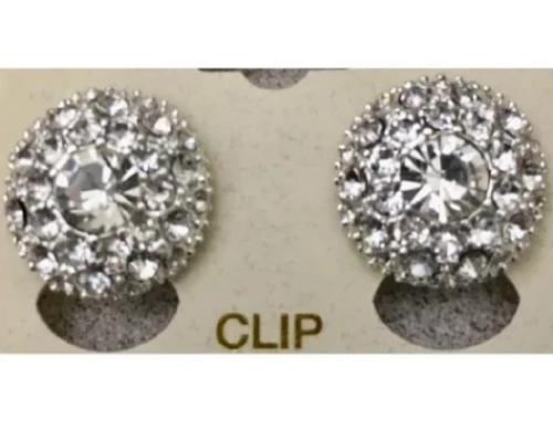 Round Crystal Clip Earring