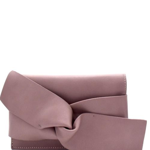 Bow Accent Clutch Mauve