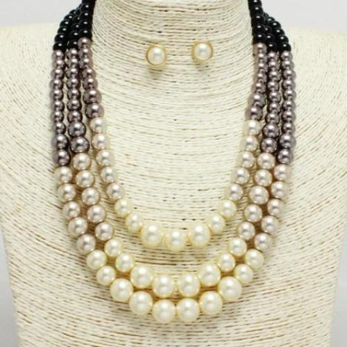 Layered Pearl Necklace Set Gold/Multi
