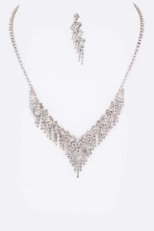 Fringe Rhinestone Necklace Set Silver
