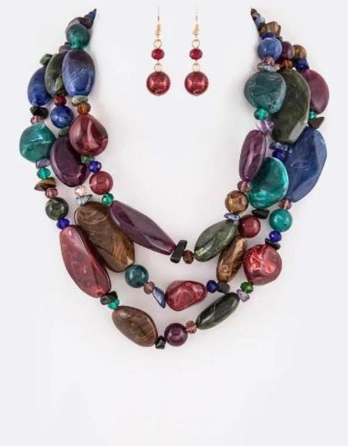 Resin Pebble Stone Layered Necklace Set Multi