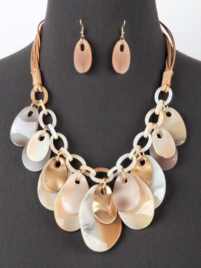 Dangle Cluster Bib Necklace Set Gold/Light Brown