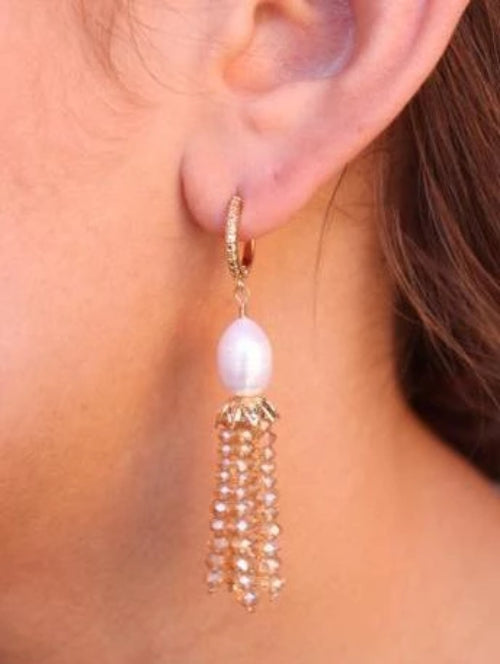Mau Small Textured Hoop with Pearl/Glass Bead Tassel Drop Earrings Champagne