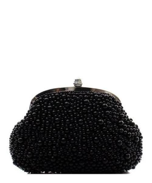 Faux Pearl Evening Clutch Black