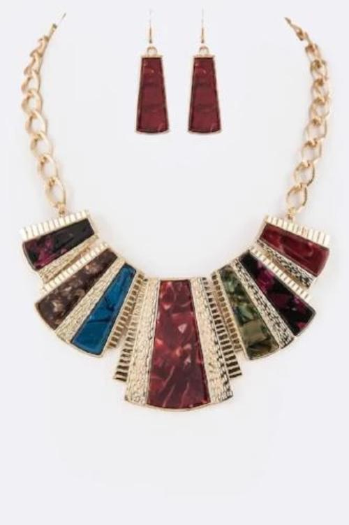Celluloid Mix Bib Statement Necklace Set Multi