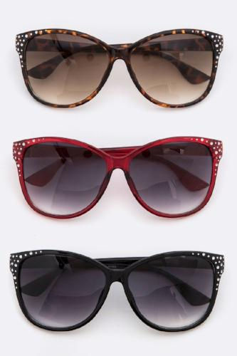Crystal Accent Fashion Sunglasses Assorted Colors