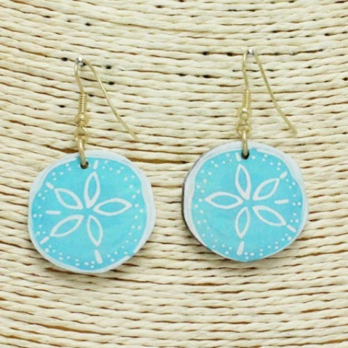 Wood Sand Dollar Earrings Turquoise