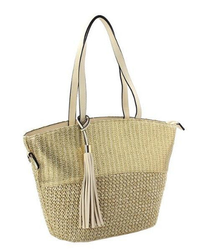 Tassel Accent Straw Tote Gold