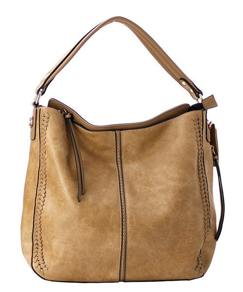 Whipstitch Accented Shoulder Bag Beige