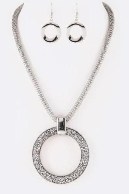 Druzy Crystal Ring Iconic Pendant Set Silver