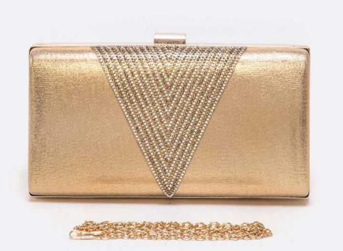 Crystal Accent Metallic Box Clutch Gold