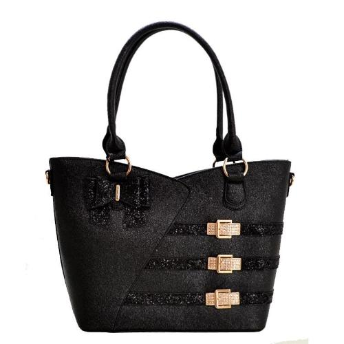 Rosacci Metallic Textured Satchel Black