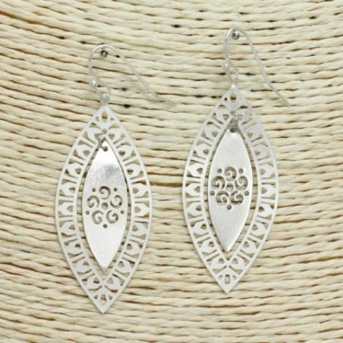 Stamped Pattern Design Earrings Silver