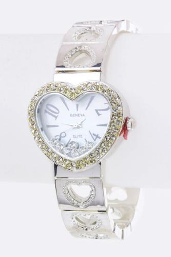 Crystal Heart Bangle Watch Silver