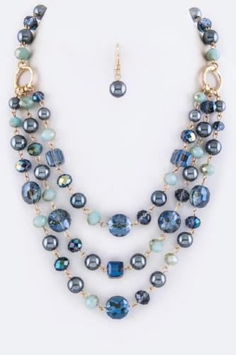 Mixed Beads Layer Necklace Set Blue