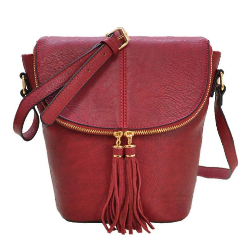 Tassel Accent Flap Crossbody Wine