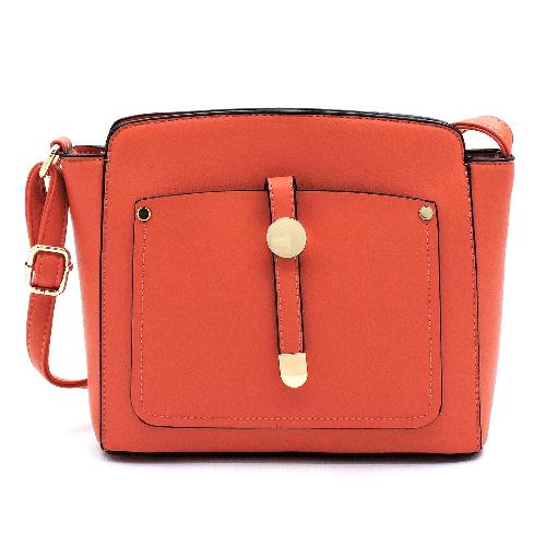Front Snap Pocket Crossbody Coral